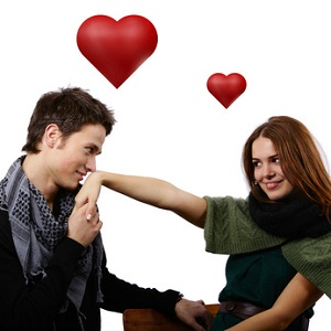 attractive man asking girls hand into marriage hearts above
